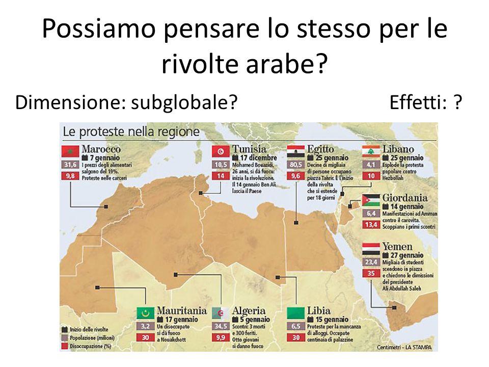 Possiamo pensare lo stesso per le rivolte arabe? Dimensione: subglobale? Effetti: ?