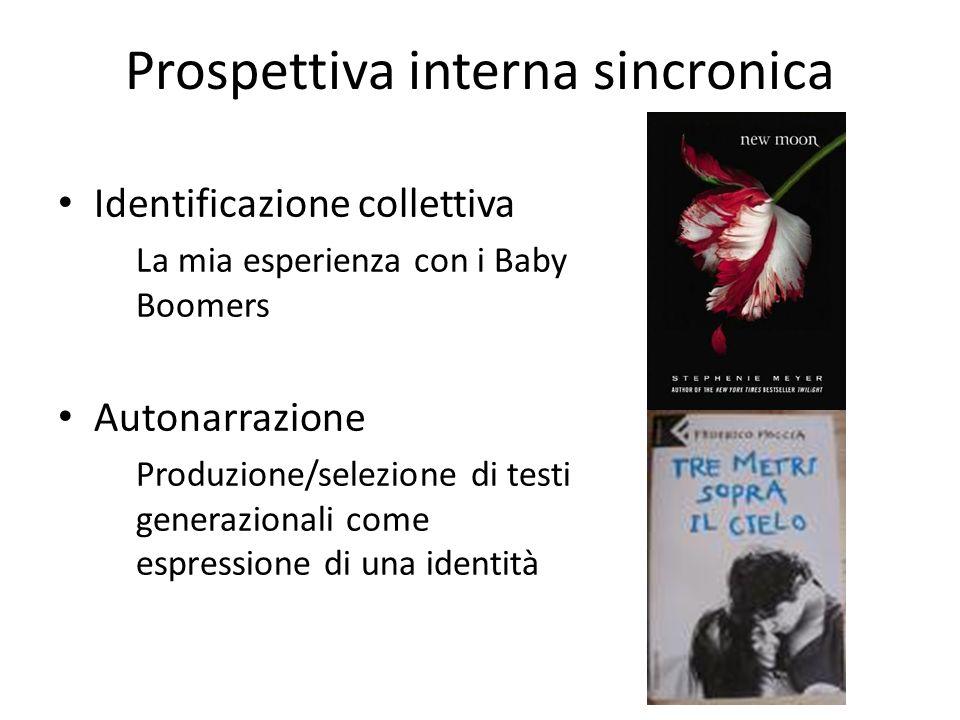 Prospettiva interna sincronica Identificazione collettiva La mia esperienza con i Baby Boomers Autonarrazione Produzione/selezione di testi generazion