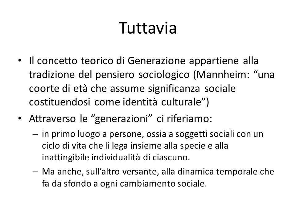 Tuttavia Il concetto teorico di Generazione appartiene alla tradizione del pensiero sociologico (Mannheim: una coorte di età che assume significanza s
