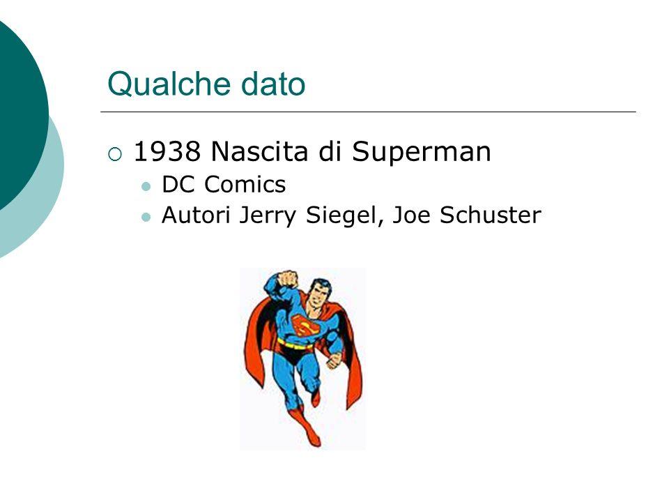Qualche dato 1938 Nascita di Superman DC Comics Autori Jerry Siegel, Joe Schuster