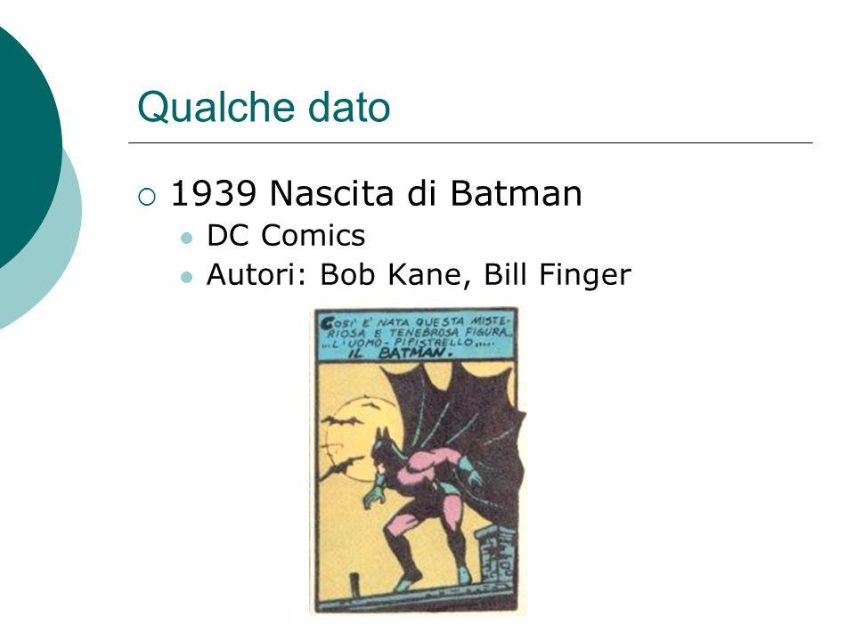 Qualche dato 1939 Nascita di Batman DC Comics Autori: Bob Kane, Bill Finger