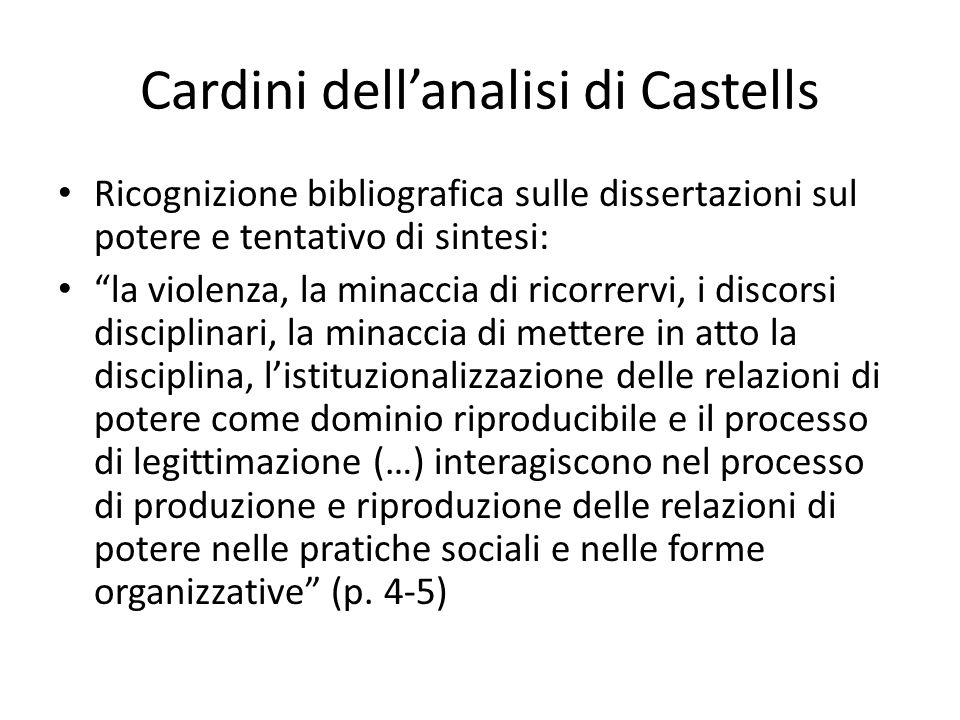 Cardini dellanalisi di Castells Ricognizione bibliografica sulle dissertazioni sul potere e tentativo di sintesi: la violenza, la minaccia di ricorrer