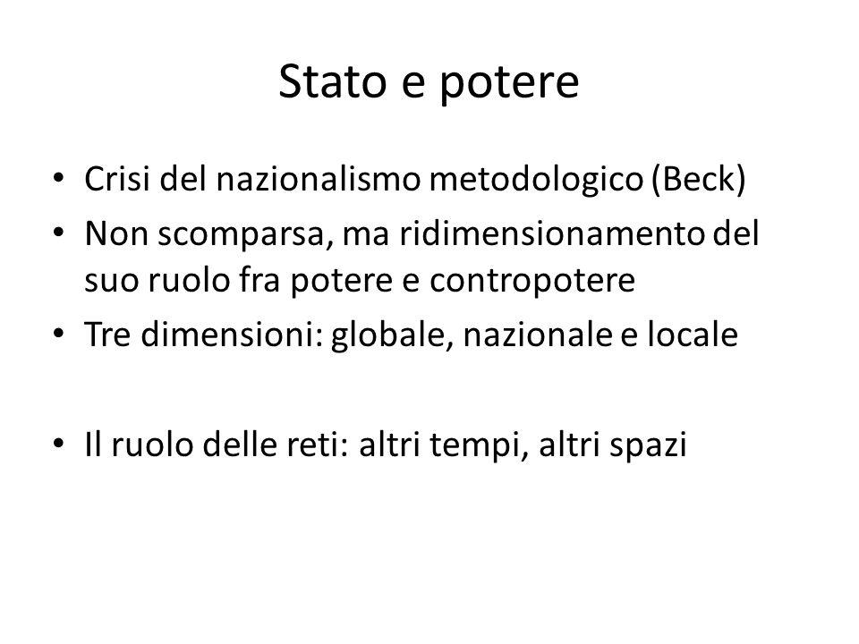 Stato e potere Crisi del nazionalismo metodologico (Beck) Non scomparsa, ma ridimensionamento del suo ruolo fra potere e contropotere Tre dimensioni: