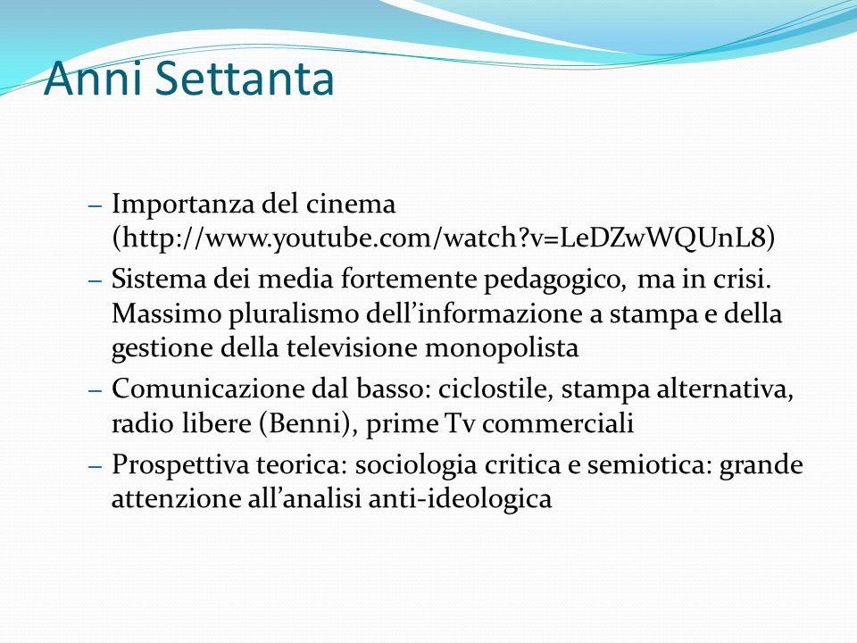 Anni Settanta – Importanza del cinema (http://www.youtube.com/watch v=LeDZwWQUnL8) – Sistema dei media fortemente pedagogico, ma in crisi.
