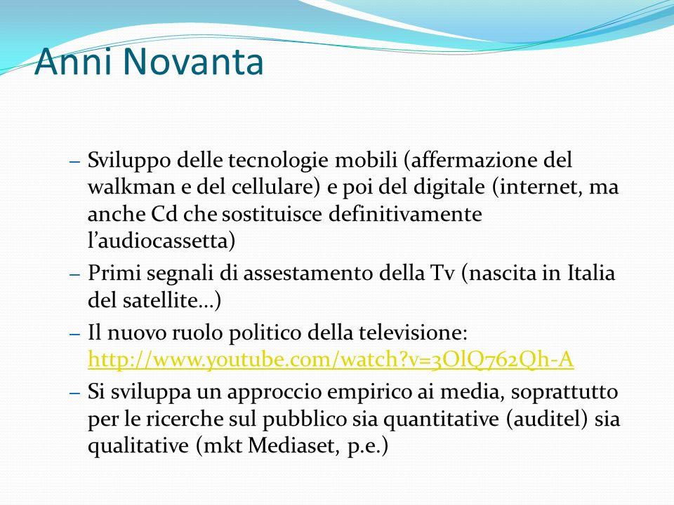 Anni Novanta – Sviluppo delle tecnologie mobili (affermazione del walkman e del cellulare) e poi del digitale (internet, ma anche Cd che sostituisce definitivamente laudiocassetta) – Primi segnali di assestamento della Tv (nascita in Italia del satellite…) – Il nuovo ruolo politico della televisione: http://www.youtube.com/watch v=3OlQ762Qh-A http://www.youtube.com/watch v=3OlQ762Qh-A – Si sviluppa un approccio empirico ai media, soprattutto per le ricerche sul pubblico sia quantitative (auditel) sia qualitative (mkt Mediaset, p.e.)