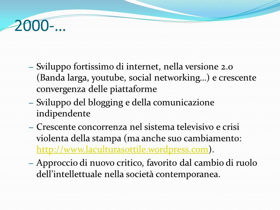 2000-… – Sviluppo fortissimo di internet, nella versione 2.0 (Banda larga, youtube, social networking…) e crescente convergenza delle piattaforme – Sv