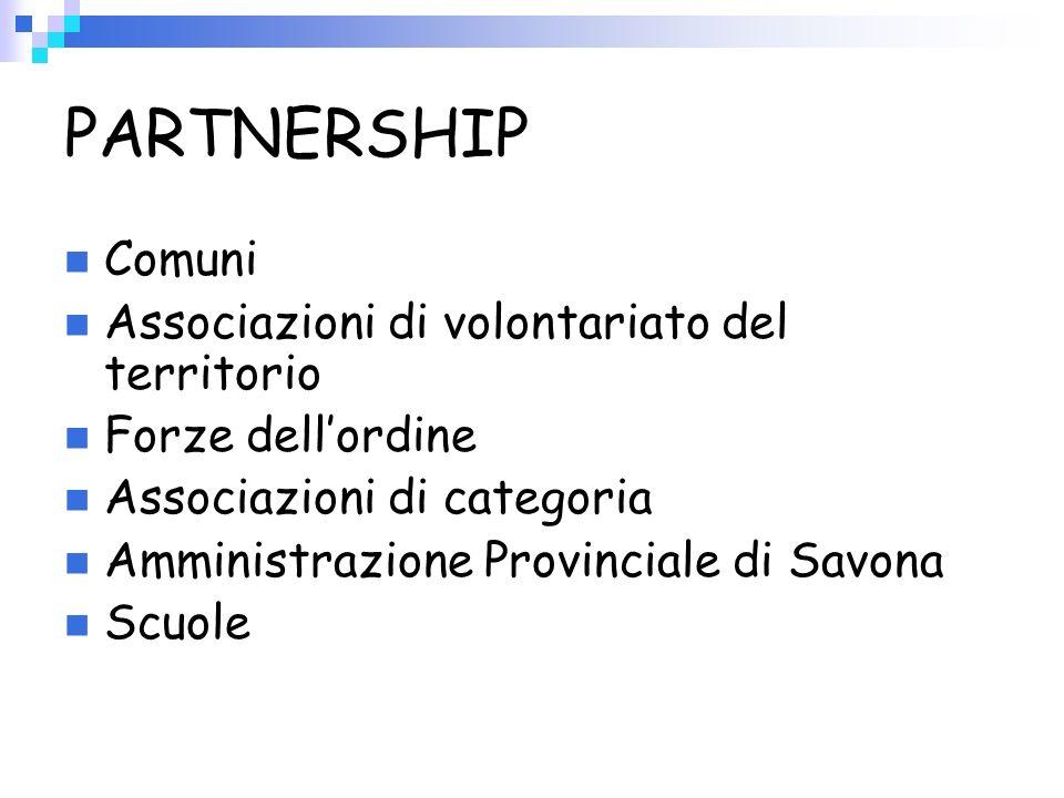 PARTNERSHIP Comuni Associazioni di volontariato del territorio Forze dellordine Associazioni di categoria Amministrazione Provinciale di Savona Scuole