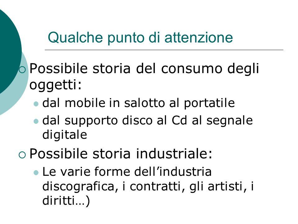 Qualche punto di attenzione Possibile storia del consumo degli oggetti: dal mobile in salotto al portatile dal supporto disco al Cd al segnale digital