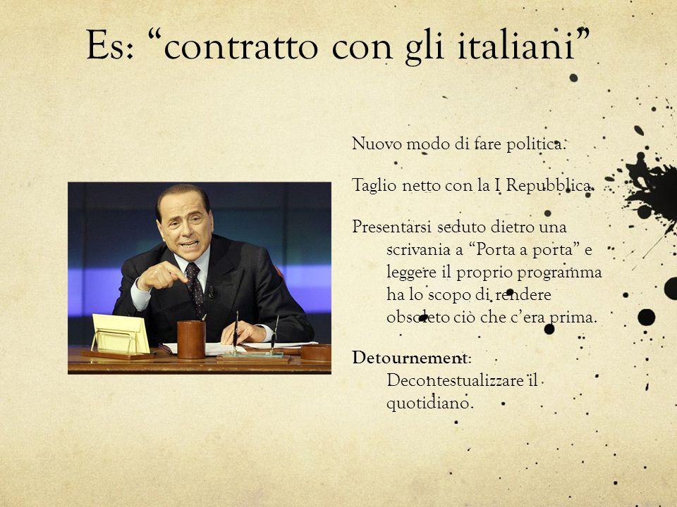 Es: contratto con gli italiani Nuovo modo di fare politica. Taglio netto con la I Repubblica. Presentarsi seduto dietro una scrivania a Porta a porta