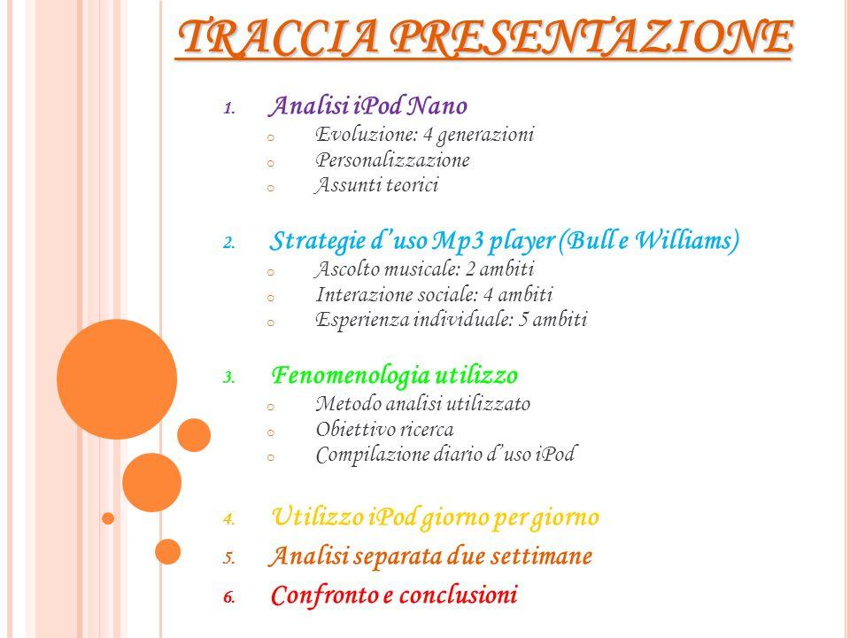 TRACCIA PRESENTAZIONE 1. Analisi iPod Nano oEoEvoluzione: 4 generazioni oPoPersonalizzazione oAoAssunti teorici 2. Strategie duso Mp3 player (Bull e W