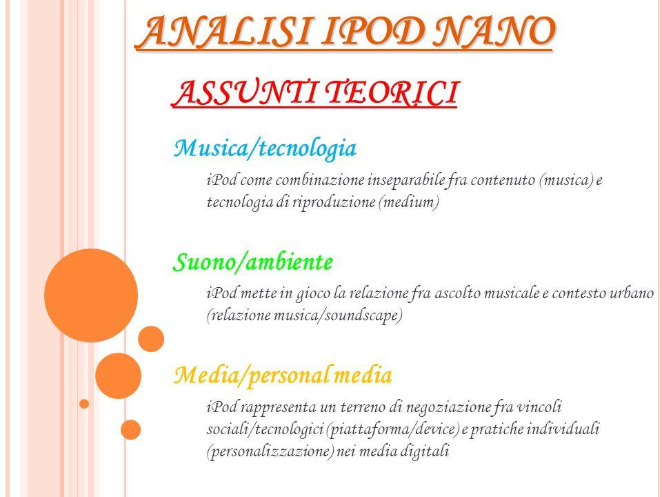 ANALISI IPOD NANO ASSUNTI TEORICI Musica/tecnologia iPod come combinazione inseparabile fra contenuto (musica) e tecnologia di riproduzione (medium) S