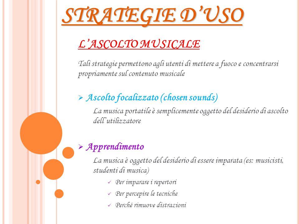 STRATEGIE DUSO LASCOLTO MUSICALE Tali strategie permettono agli utenti di mettere a fuoco e concentrarsi propriamente sul contenuto musicale Ascolto f