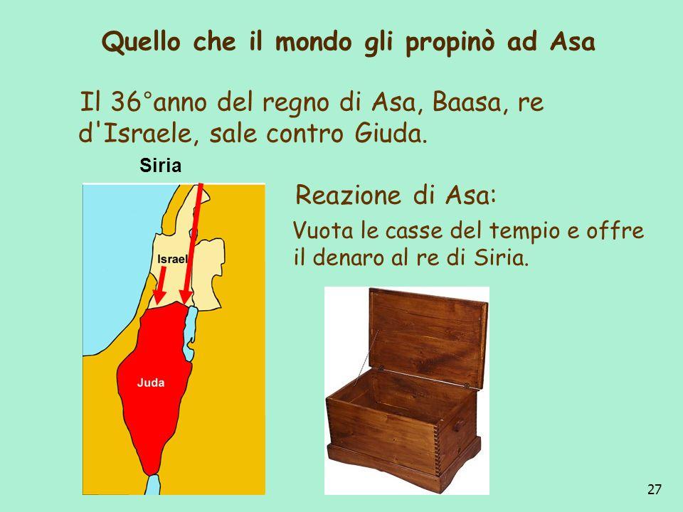27 Quello che il mondo gli propinò ad Asa Il 36°anno del regno di Asa, Baasa, re d'Israele, sale contro Giuda. Reazione di Asa: Vuota le casse del tem