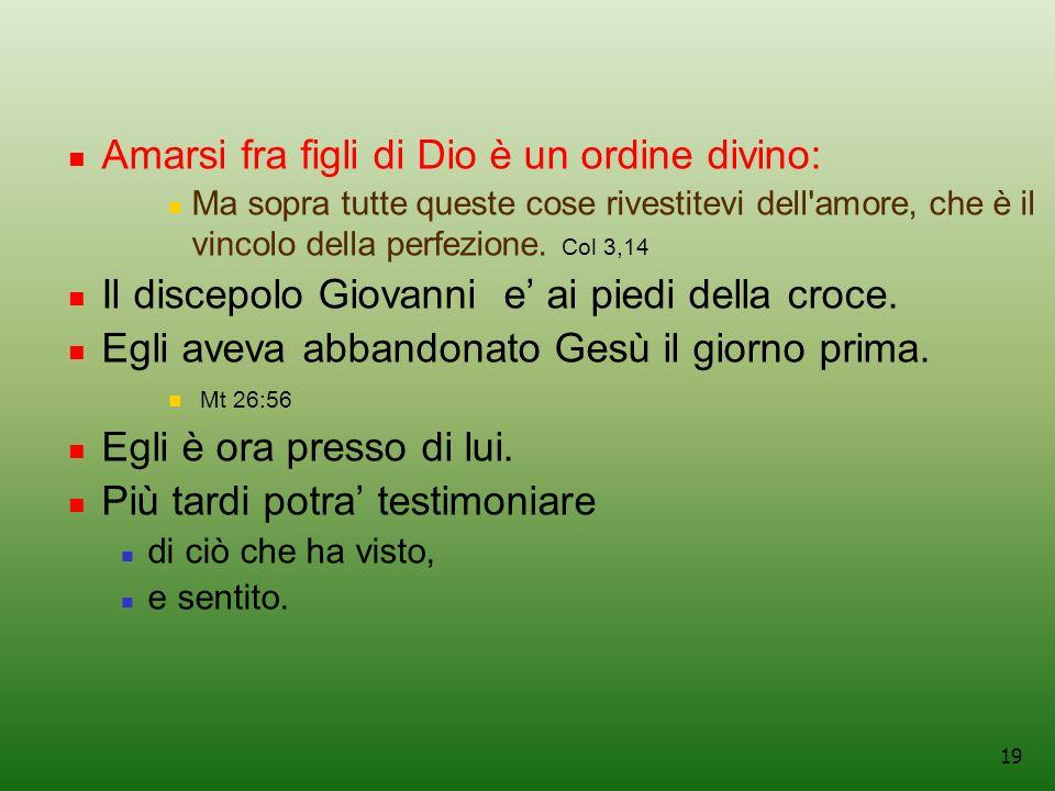 19 Amarsi fra figli di Dio è un ordine divino: Ma sopra tutte queste cose rivestitevi dell amore, che è il vincolo della perfezione.