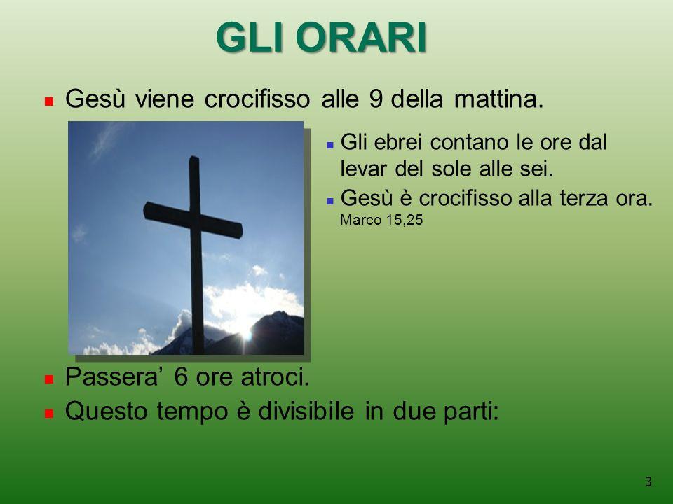 3 GLI ORARI Gesù viene crocifisso alle 9 della mattina.