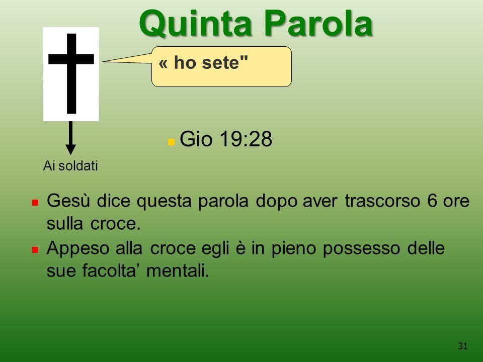 31 Gio 19:28 Ai soldati Gesù dice questa parola dopo aver trascorso 6 ore sulla croce.
