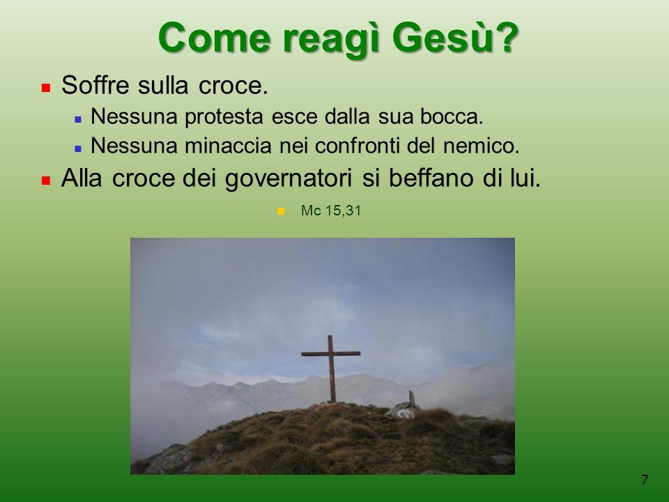 7 Come reagì Gesù.Soffre sulla croce. Nessuna protesta esce dalla sua bocca.