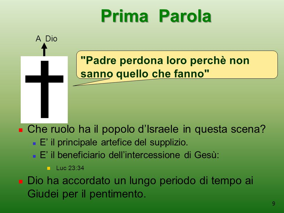9 Prima Parola Prima Parola Che ruolo ha il popolo dIsraele in questa scena.