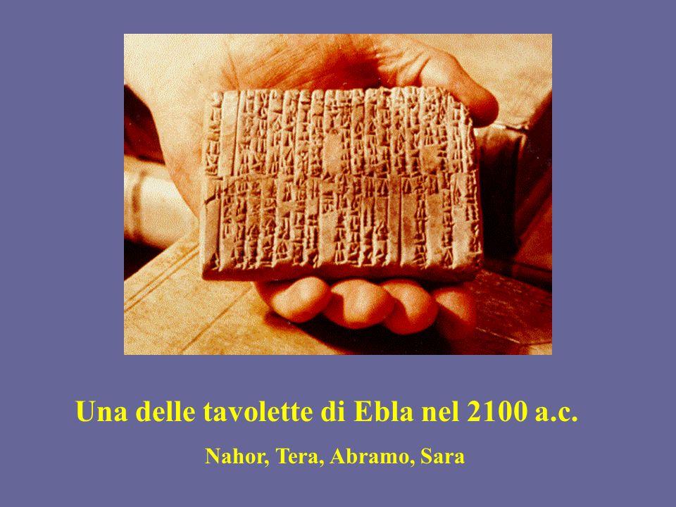 Una delle tavolette di Ebla nel 2100 a.c. Nahor, Tera, Abramo, Sara