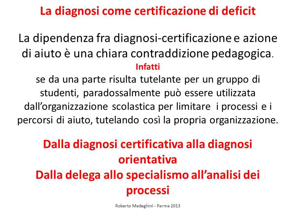La diagnosi come certificazione di deficit La dipendenza fra diagnosi-certificazione e azione di aiuto è una chiara contraddizione pedagogica. Infatti