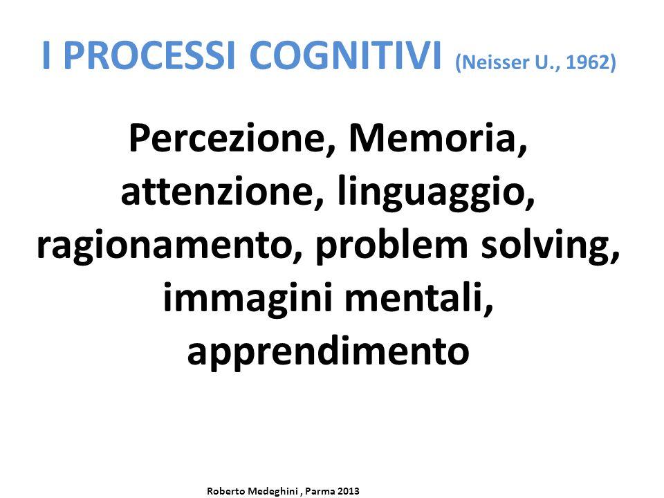 I PROCESSI COGNITIVI (Neisser U., 1962) Percezione, Memoria, attenzione, linguaggio, ragionamento, problem solving, immagini mentali, apprendimento Ro