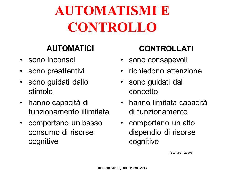 AUTOMATISMI E CONTROLLO AUTOMATICI sono inconsci sono preattentivi sono guidati dallo stimolo hanno capacità di funzionamento illimitata comportano un