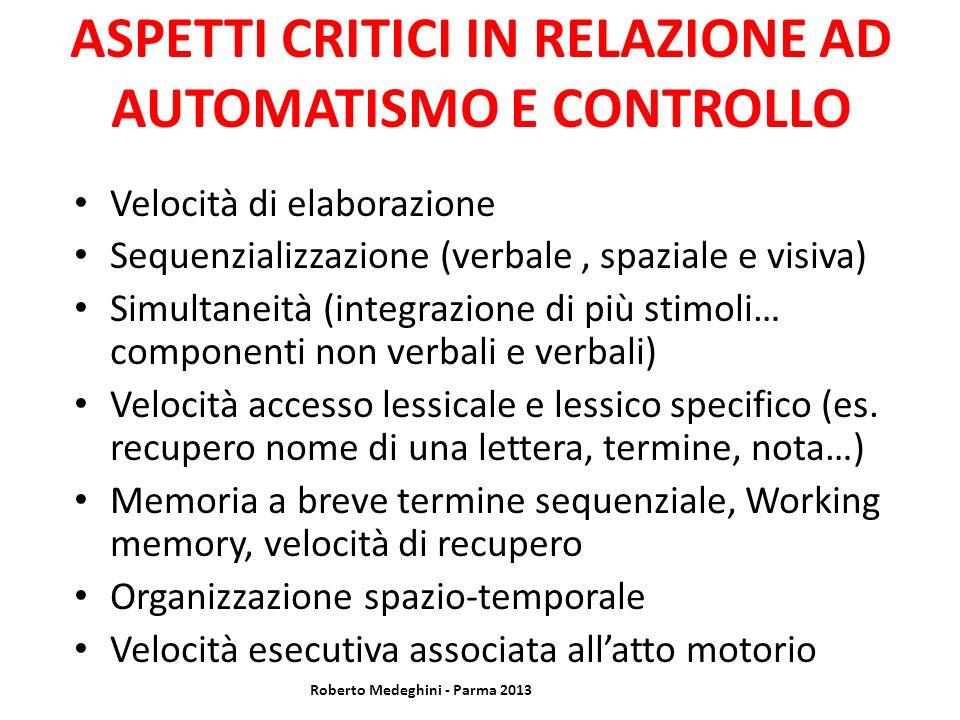 ASPETTI CRITICI IN RELAZIONE AD AUTOMATISMO E CONTROLLO Velocità di elaborazione Sequenzializzazione (verbale, spaziale e visiva) Simultaneità (integr