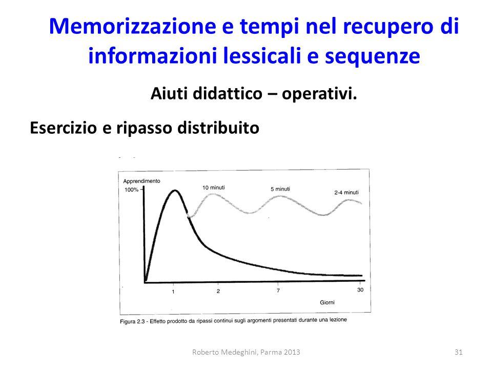 Memorizzazione e tempi nel recupero di informazioni lessicali e sequenze Aiuti didattico – operativi. Esercizio e ripasso distribuito Roberto Medeghin