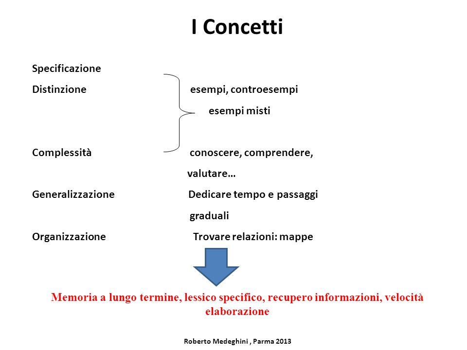 I Concetti Specificazione Distinzione esempi, controesempi esempi misti Complessità conoscere, comprendere, valutare… Generalizzazione Dedicare tempo