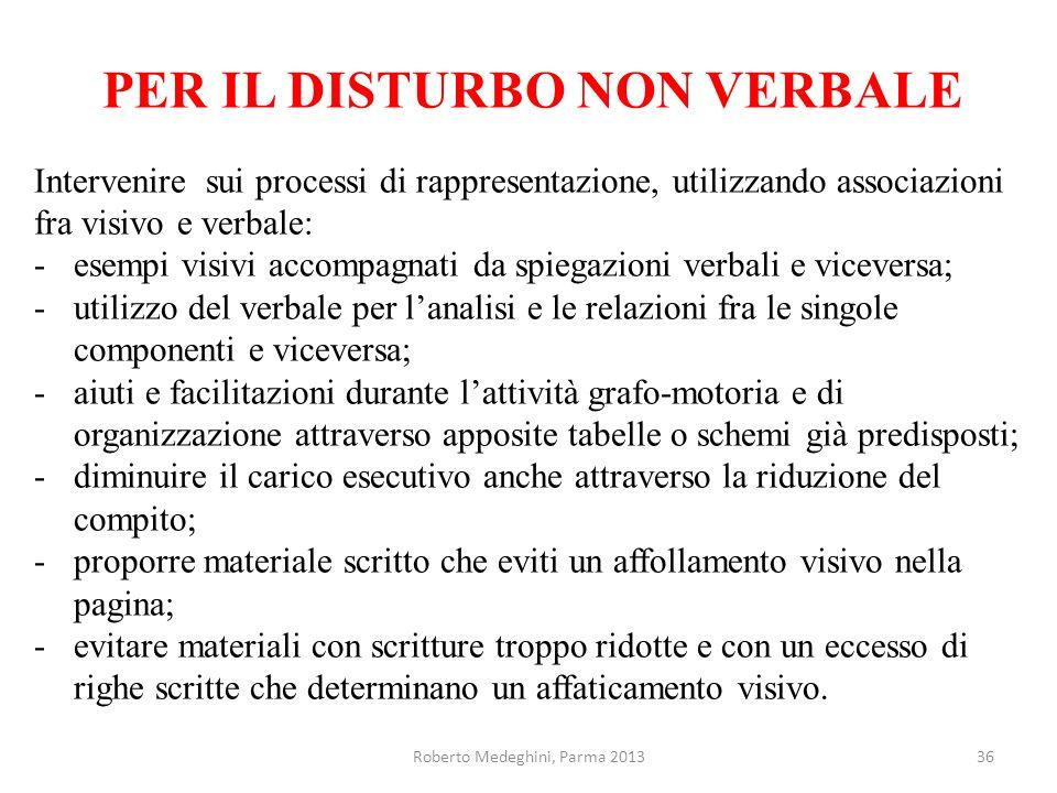 PER IL DISTURBO NON VERBALE Intervenire sui processi di rappresentazione, utilizzando associazioni fra visivo e verbale: -esempi visivi accompagnati d
