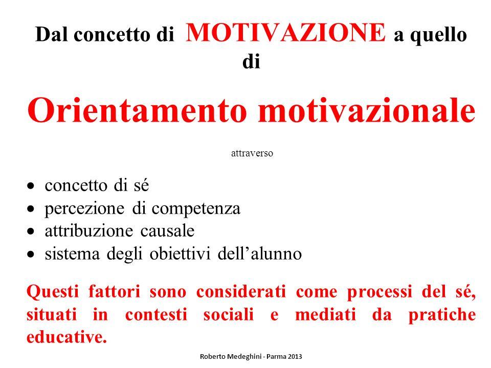 Dal concetto di MOTIVAZIONE a quello di Orientamento motivazionale attraverso concetto di sé percezione di competenza attribuzione causale sistema deg