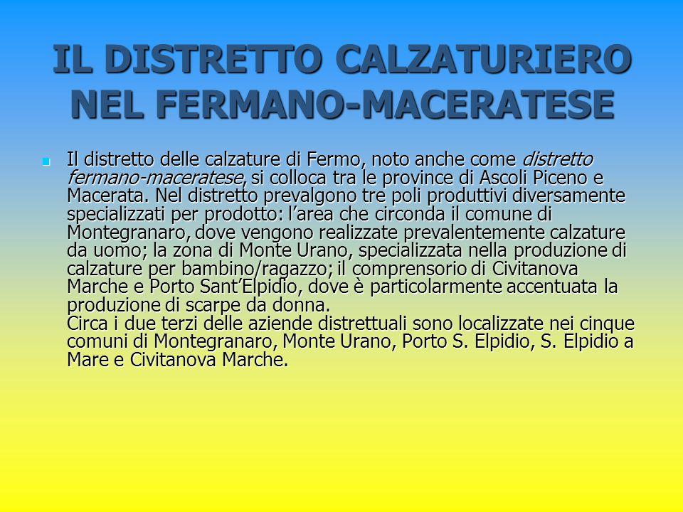 IL DISTRETTO CALZATURIERO NEL FERMANO-MACERATESE Il distretto delle calzature di Fermo, noto anche come distretto fermano-maceratese, si colloca tra l