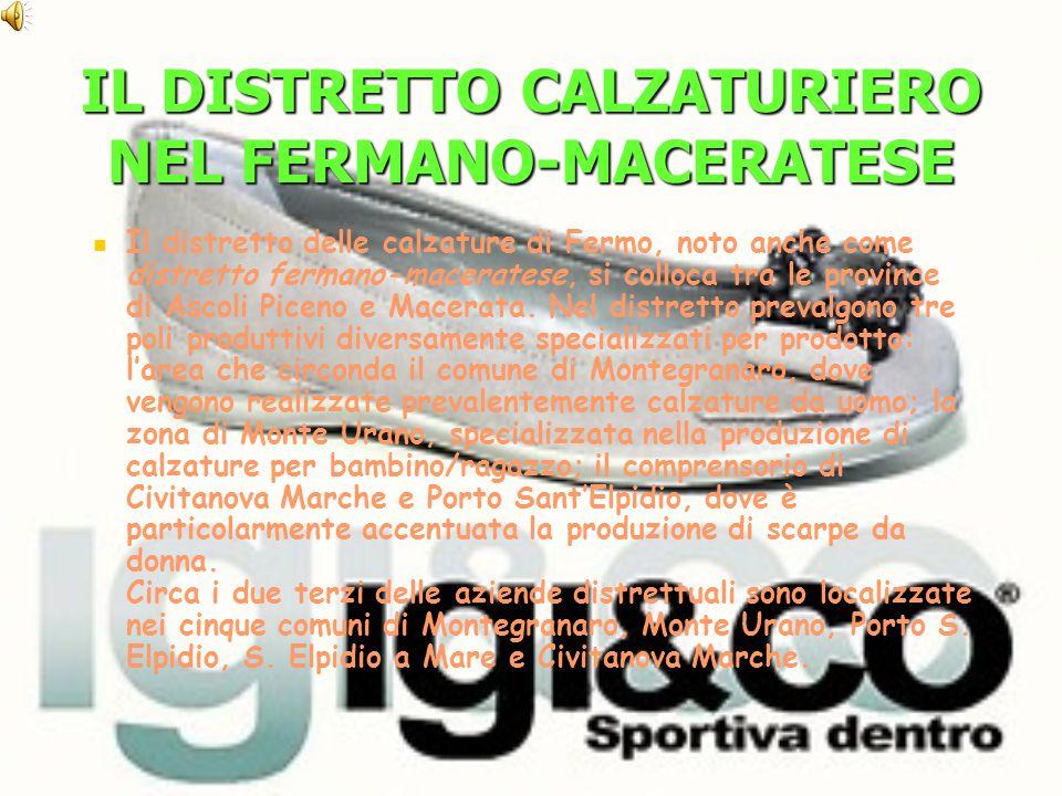 IL DISTRETTO CALZATURIERO NEL FERMANO-MACERATESE Il distretto delle calzature di Fermo, noto anche come distretto fermano-maceratese, si colloca tra le province di Ascoli Piceno e Macerata.