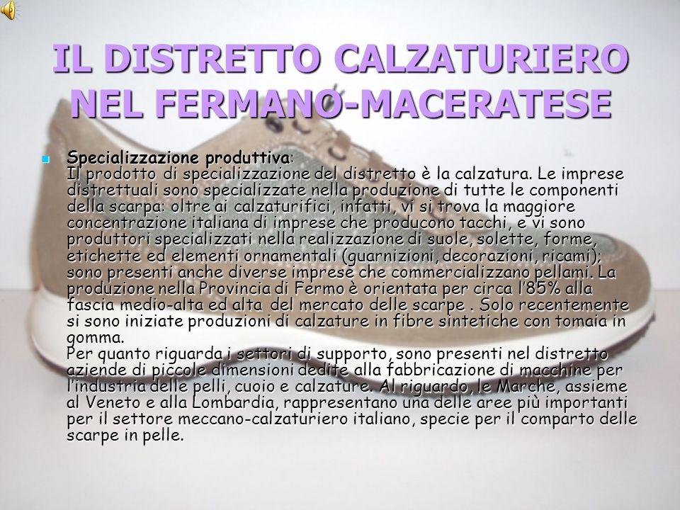 IL DISTRETTO CALZATURIERO NEL FERMANO-MACERATESE Specializzazione produttiva: Il prodotto di specializzazione del distretto è la calzatura.