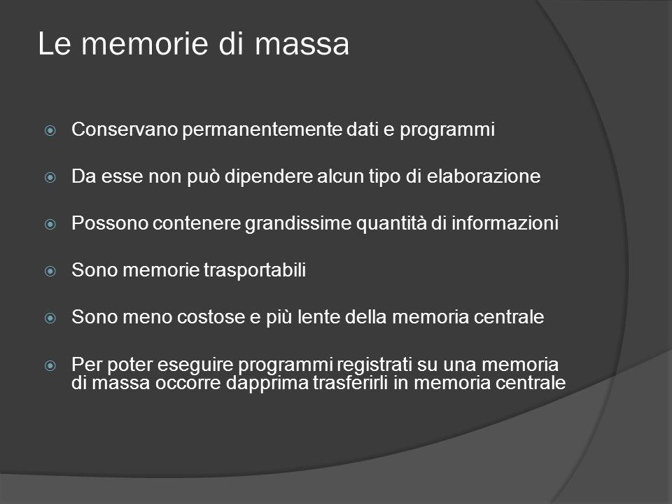 Le memorie di massa Conservano permanentemente dati e programmi Da esse non può dipendere alcun tipo di elaborazione Possono contenere grandissime qua