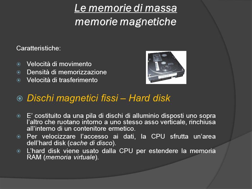 Le memorie di massa memorie magnetiche Caratteristiche: Velocità di movimento Densità di memorizzazione Velocità di trasferimento Dischi magnetici fis