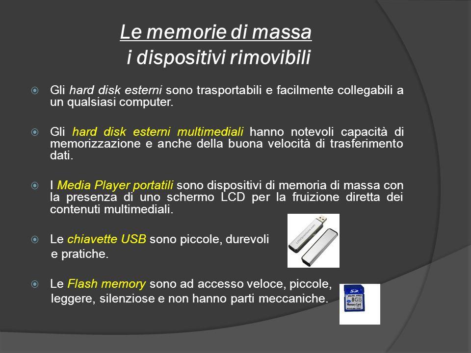 Le memorie di massa i dispositivi rimovibili Gli hard disk esterni sono trasportabili e facilmente collegabili a un qualsiasi computer. Gli hard disk