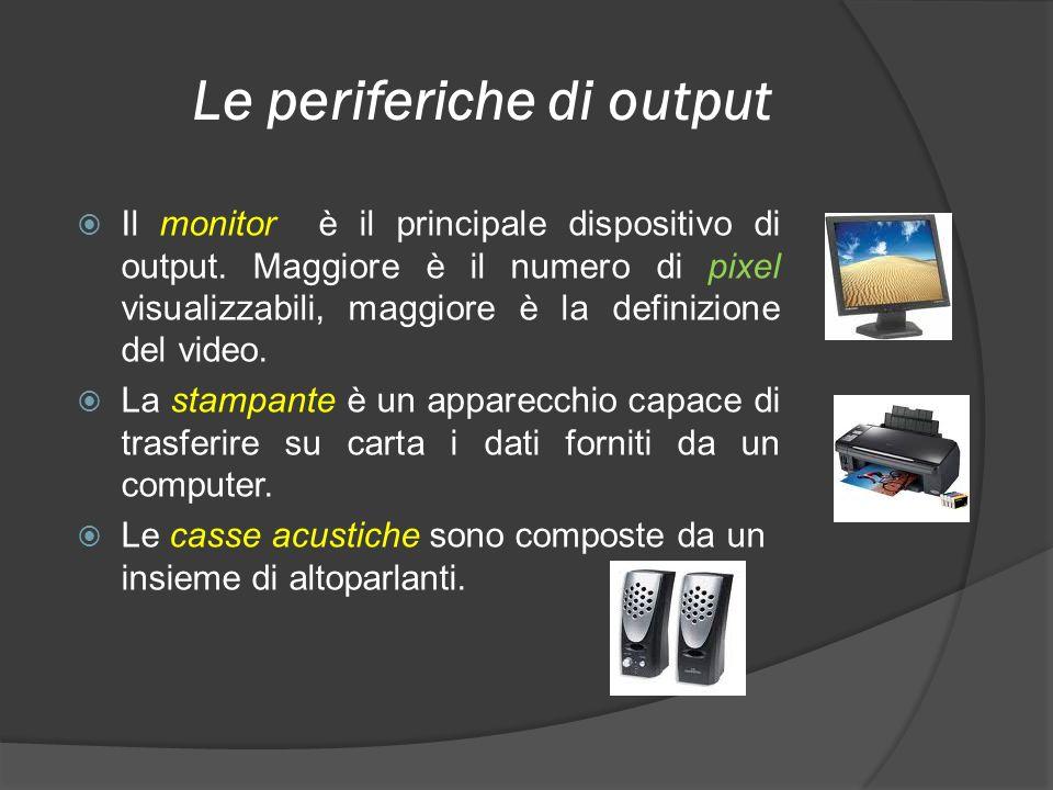 Le periferiche di output Il monitor è il principale dispositivo di output. Maggiore è il numero di pixel visualizzabili, maggiore è la definizione del