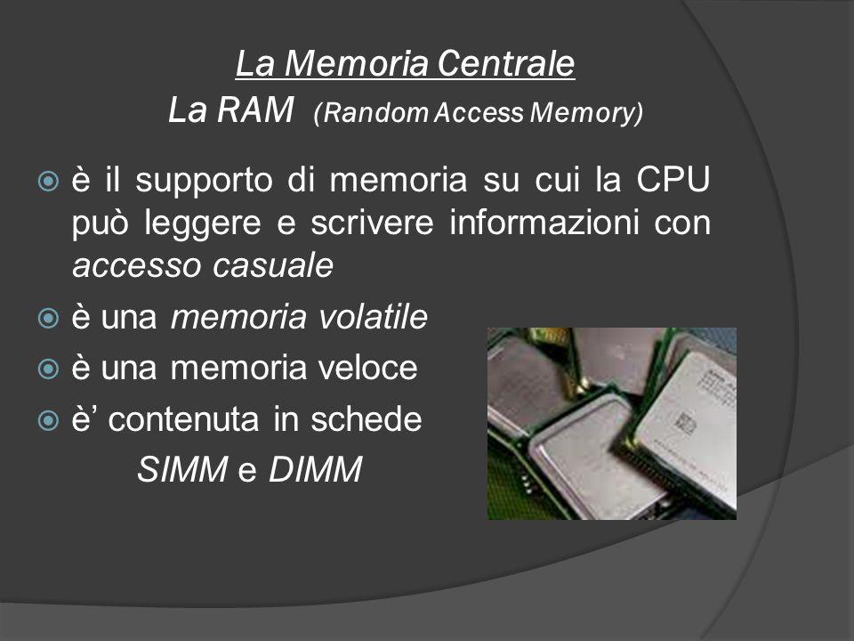 La Memoria Centrale La ROM è una memoria a sola lettura è una memoria non volatile in cui i dati sono memorizzati nella sua fase di costruzione e non possono essere più modificati per l intera durata della sua vita contiene informazioni fondamentali per il funzionamento del computer, il cosiddetto BIOS