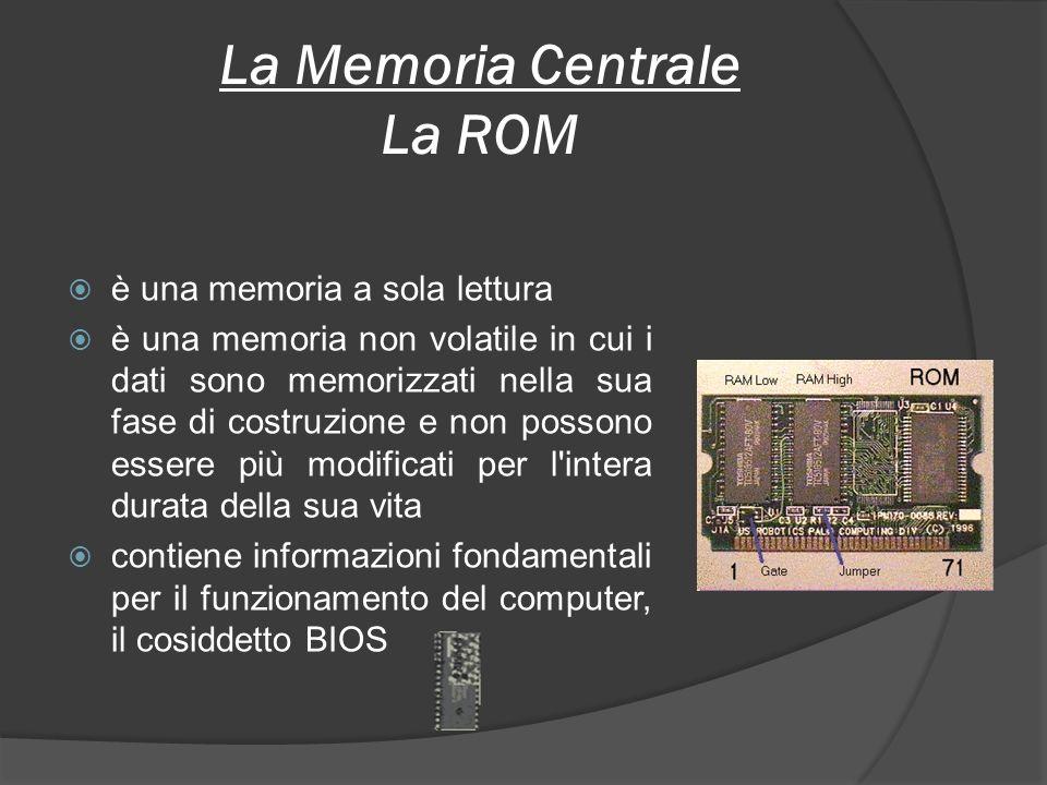 La Memoria Centrale La ROM è una memoria a sola lettura è una memoria non volatile in cui i dati sono memorizzati nella sua fase di costruzione e non