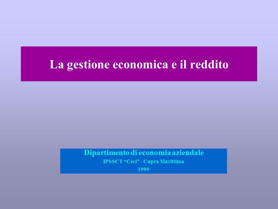 La gestione economica e il reddito Dipartimento di economia aziendale IPSSCT Ceci - Cupra Marittima 1999