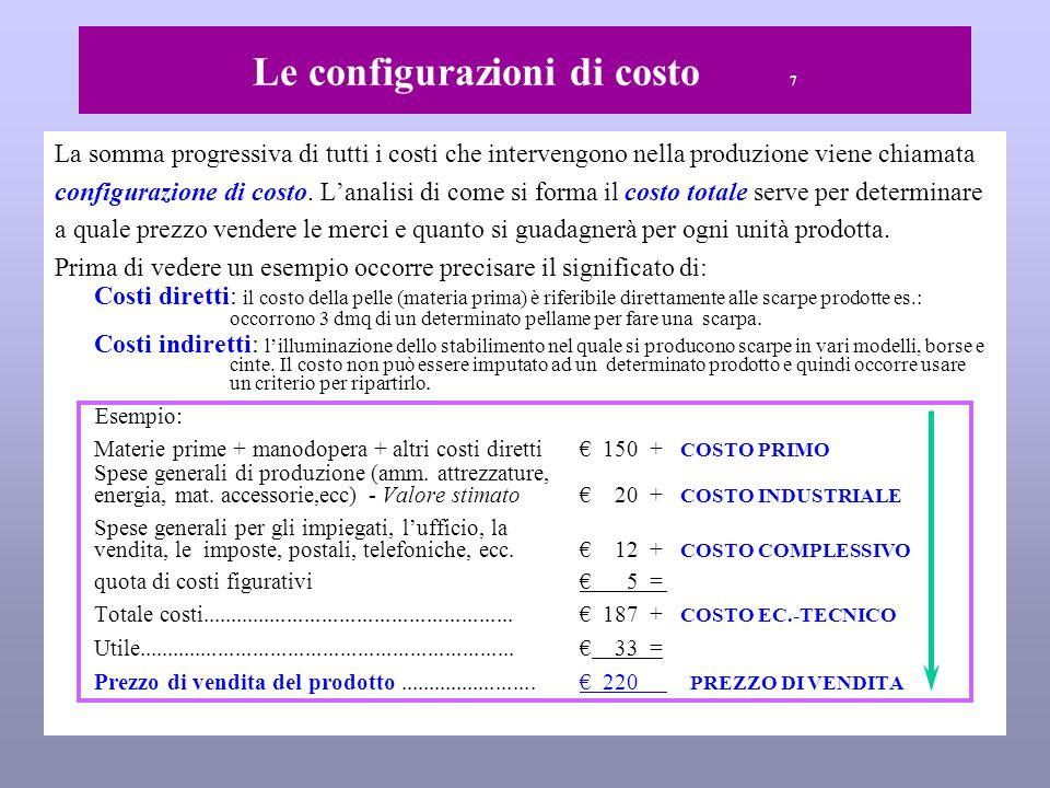 Le configurazioni di costo 7 La somma progressiva di tutti i costi che intervengono nella produzione viene chiamata configurazione di costo.