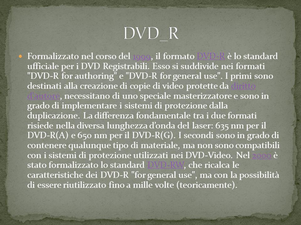 Formalizzato nel corso del 1999, il formato DVD-R è lo standard ufficiale per i DVD Registrabili.