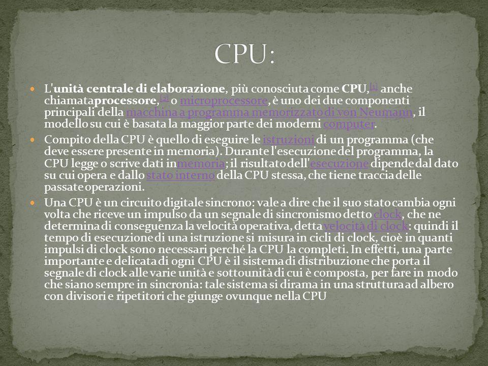 L unità centrale di elaborazione, più conosciuta come CPU, [1] anche chiamataprocessore, [2] o microprocessore, è uno dei due componenti principali della macchina a programma memorizzato di von Neumann, il modello su cui è basata la maggior parte dei moderni computer.