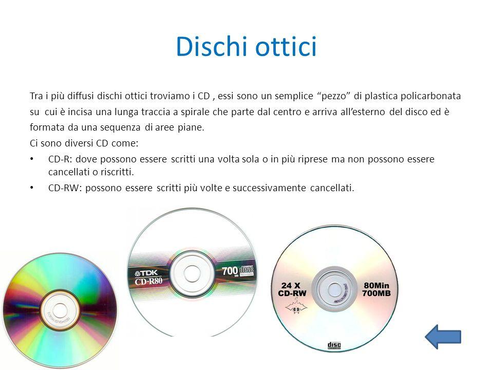 Dischi ottici Tra i più diffusi dischi ottici troviamo i CD, essi sono un semplice pezzo di plastica policarbonata su cui è incisa una lunga traccia a