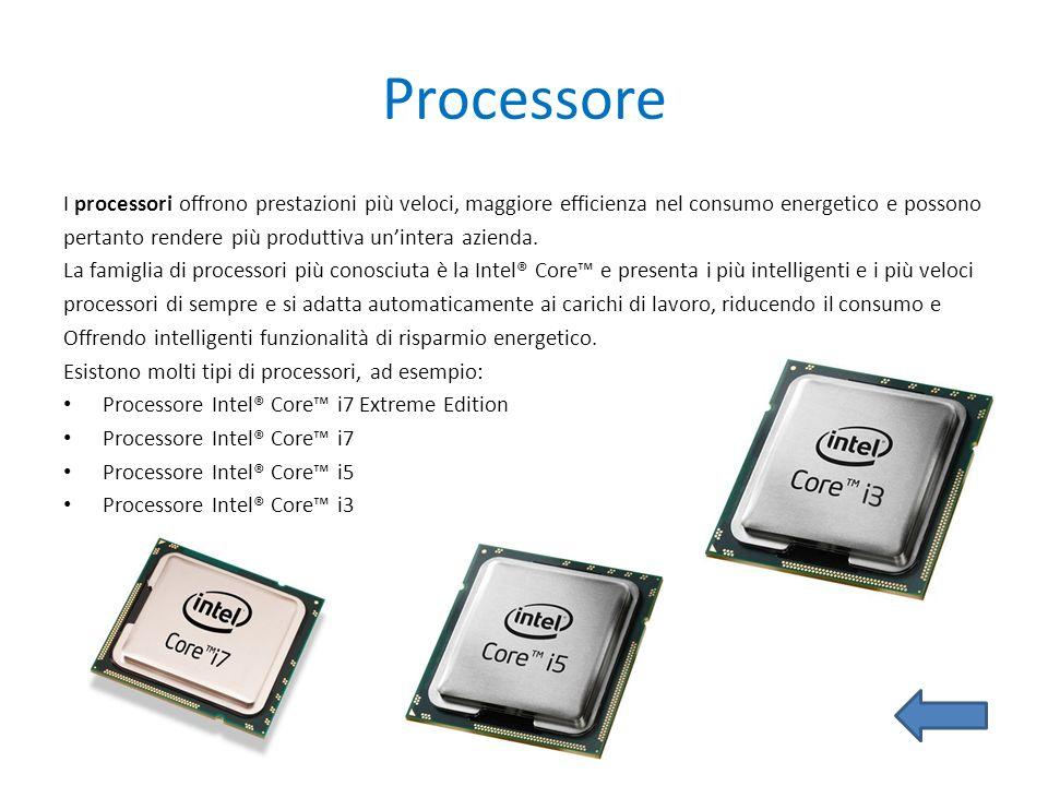 Processore I processori offrono prestazioni più veloci, maggiore efficienza nel consumo energetico e possono pertanto rendere più produttiva unintera