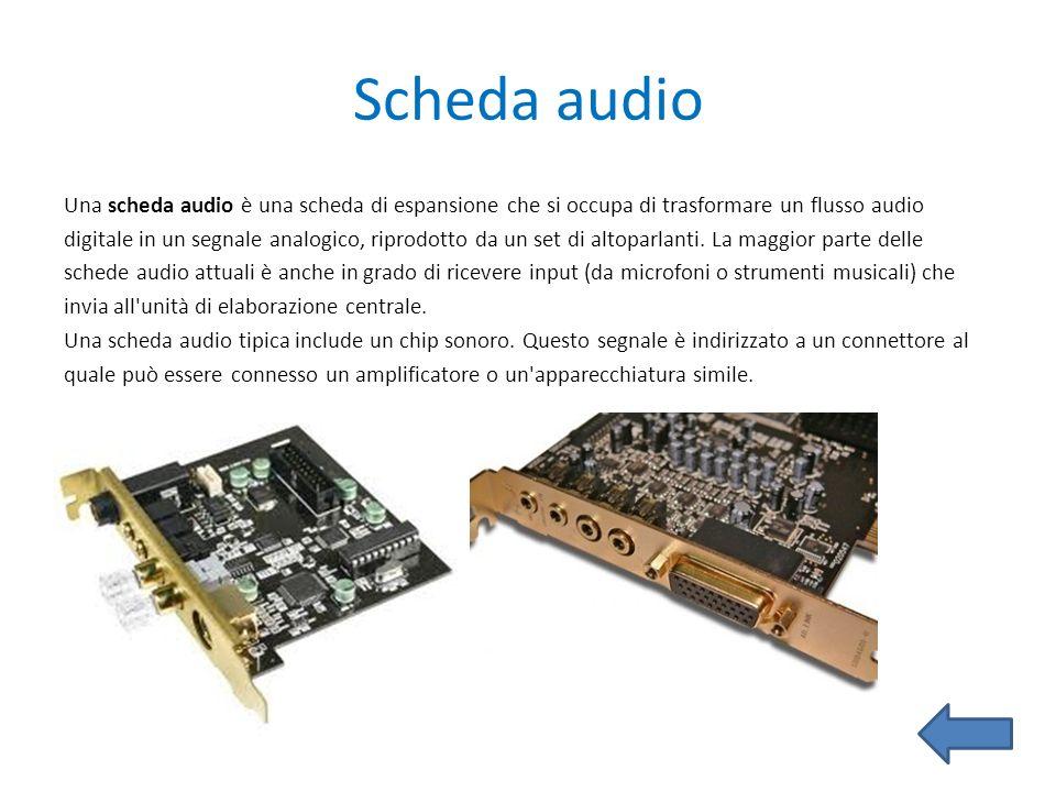 Scheda audio Una scheda audio è una scheda di espansione che si occupa di trasformare un flusso audio digitale in un segnale analogico, riprodotto da