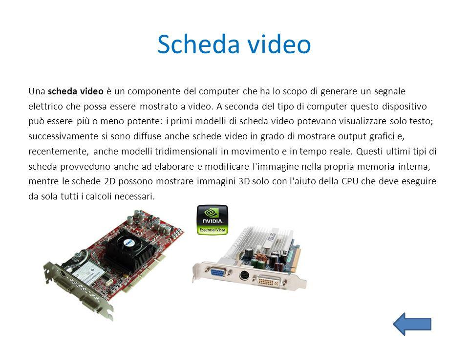 Scheda video Una scheda video è un componente del computer che ha lo scopo di generare un segnale elettrico che possa essere mostrato a video. A secon