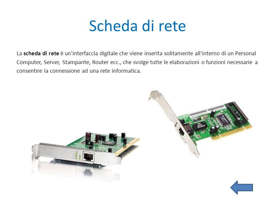 Scheda di rete La scheda di rete è un'interfaccia digitale che viene inserita solitamente all'interno di un Personal Computer, Server, Stampante, Rout