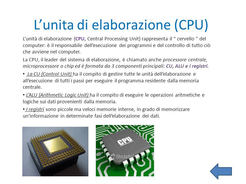 Lunita di elaborazione (CPU) Lunità di elaborazione (CPU, Central Processing Unit) rappresenta il cervello del computer: è il responsabile dellesecuzi